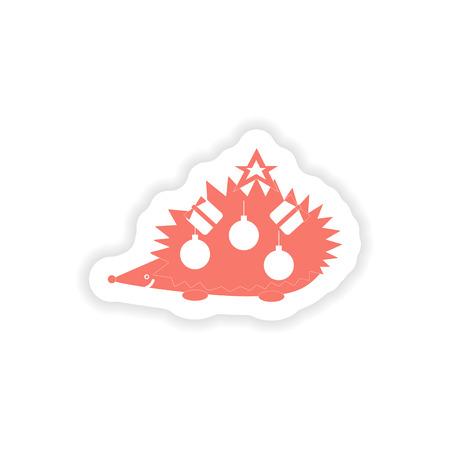 paper sticker on white background  hedgehog gifts Illustration