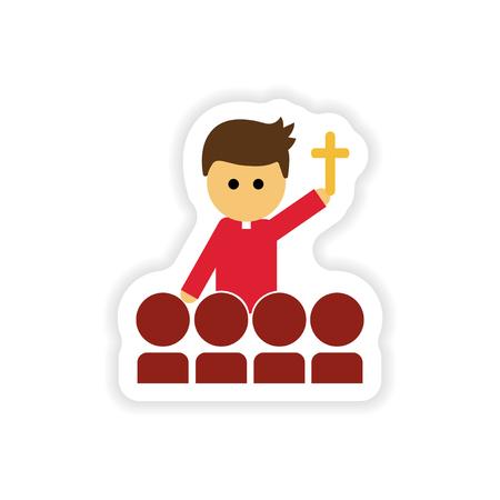 pastor: paper sticker on white background  Christian priest Illustration