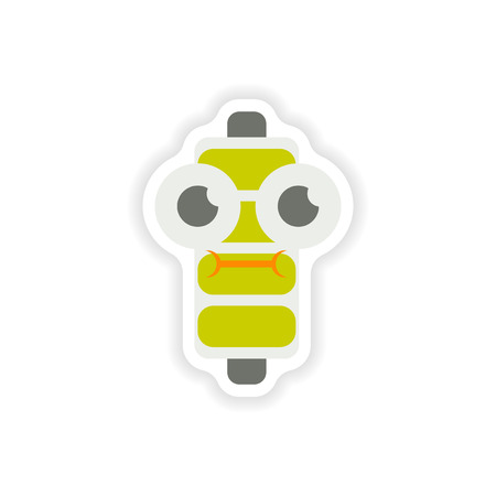 high voltage: paper sticker on white background  mobile battery