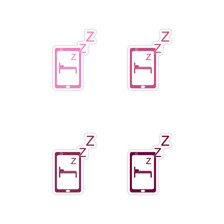 Set paper stickers on white  background mobile phone switched off