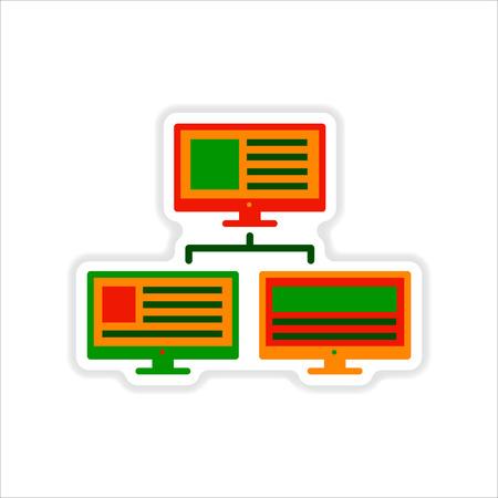 computer network: paper sticker on white  background computer network Illustration
