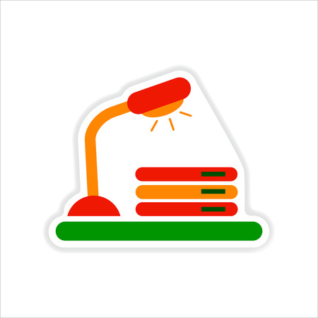 paper sticker on white  background table lamp documents