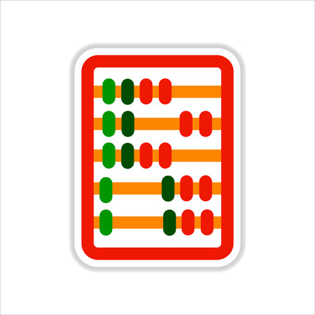 abacus: paper sticker on white  background  abacus mathematics