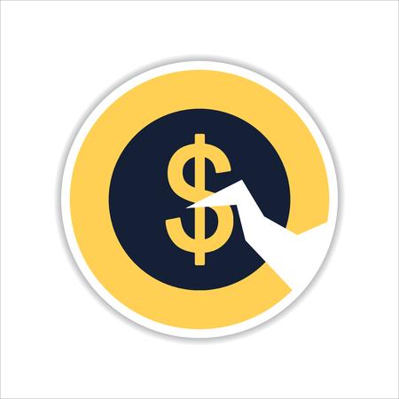 crack: paper sticker on white  background coin crack Illustration