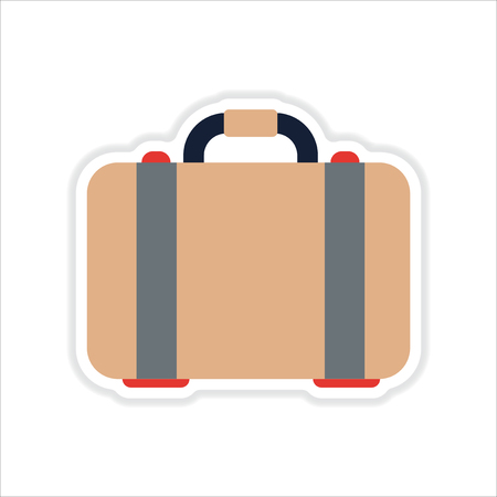 suit case: paper sticker on white  background suitcase bag