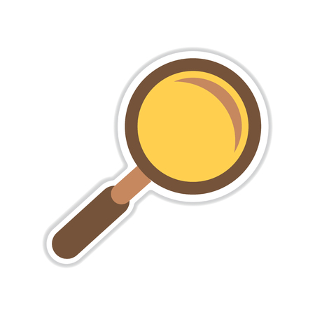 paper sticker on white  background magnifying glass Illustration