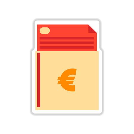 chequera: etiqueta de papel en el fondo blanco del talonario de cheques de finanzas Vectores