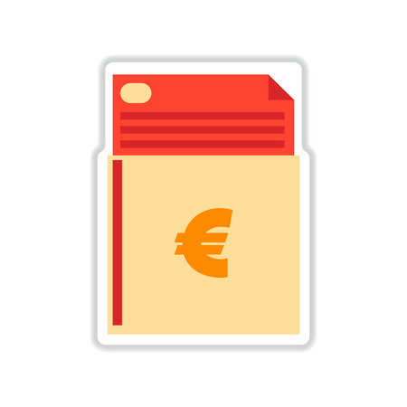 checkbook: paper sticker on white  background finance checkbook