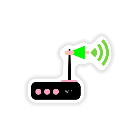 wi: paper sticker on white background   Wi-Fi router Illustration