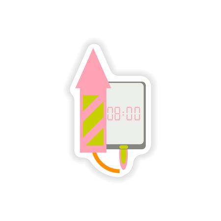 paper sticker on white background  Mobile Phone alarm clock Illustration