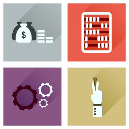 obligatory: Concept of flat icons with long  shadow economy
