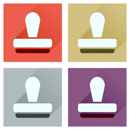 qualify: Concept of flat icons with long  shadow stamp office
