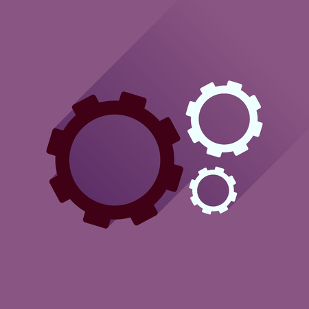 Flat icon with long  shadow gears cogs
