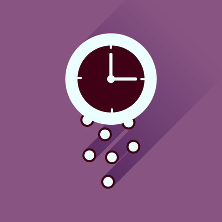 analogy: Flat icon with long  shadow time is money