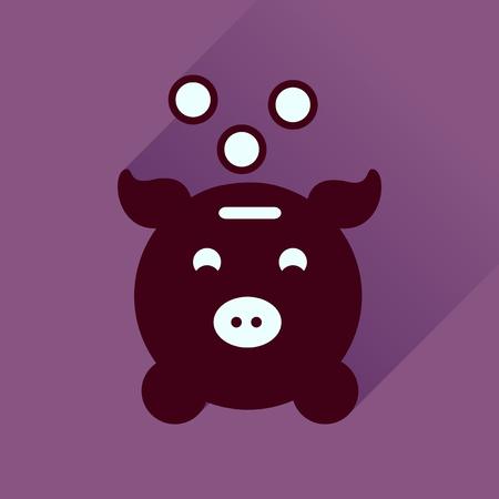 piggy bank money: Flat icon with long  shadow piggy bank money