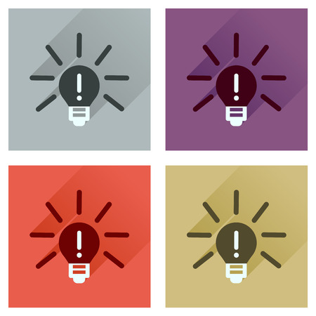 fluorescent lights: Concept of flat icons with long  shadow light bulb idea Illustration