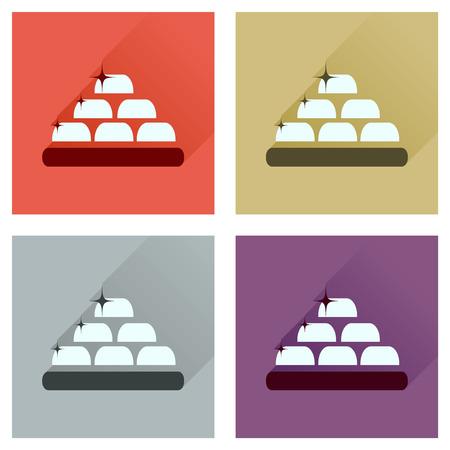 goldbars: Concept of flat icons with long  shadow gold bullion