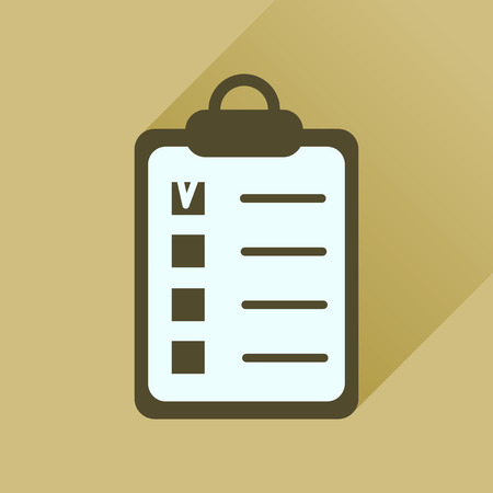 questionnaire: Flat icon with long  shadow Business questionnaire