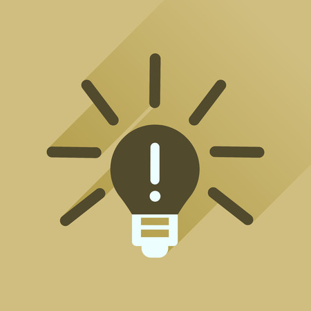 fluorescent lights: Flat icon with long  shadow light bulb idea