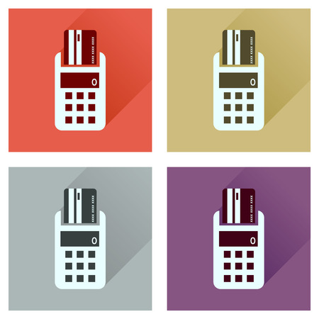 pincode: Concept of flat icons with long  shadow card terminal Illustration