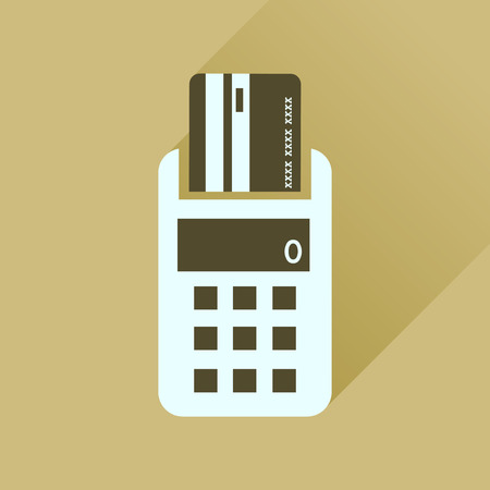cashless payment: Flat icon with long  shadow card terminal Illustration