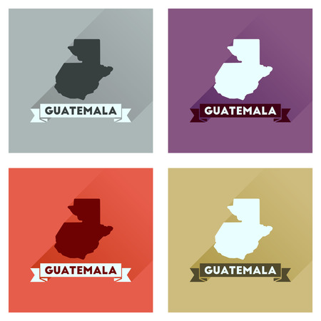 guatemalan: Concept of flat icons with long  shadow Guatemala map Illustration