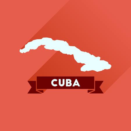 icono plana con larga mapa de sombras de Cuba