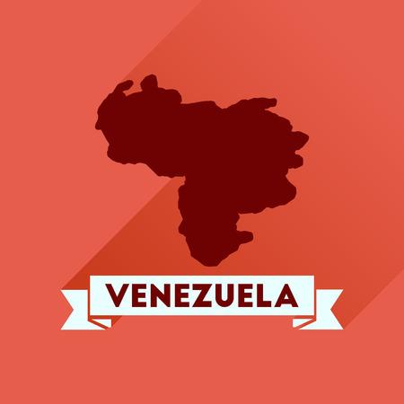 mapa de venezuela: icono plana con larga mapa de sombras de Venezuela Vectores