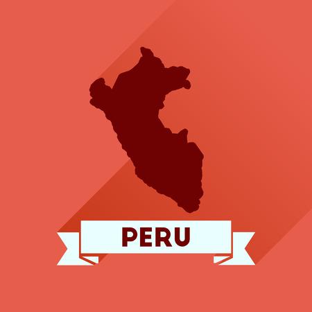 mapa del peru: icono plana con una larga sombra mapa Perú