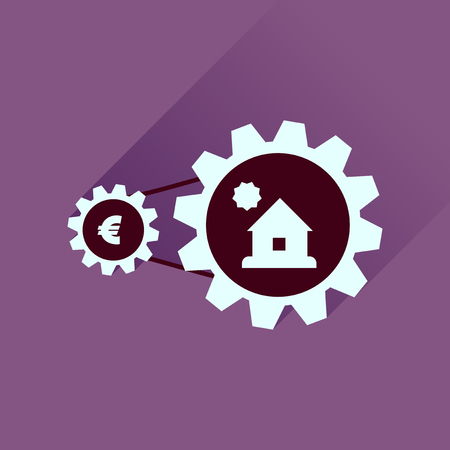 housing prices: Flat icon with long  shadow money house