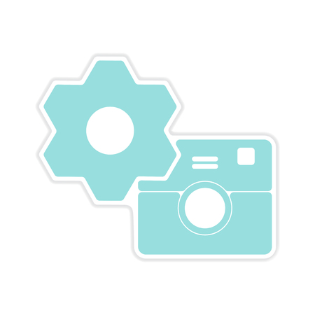 digicam: paper sticker on white  background camera settings Illustration