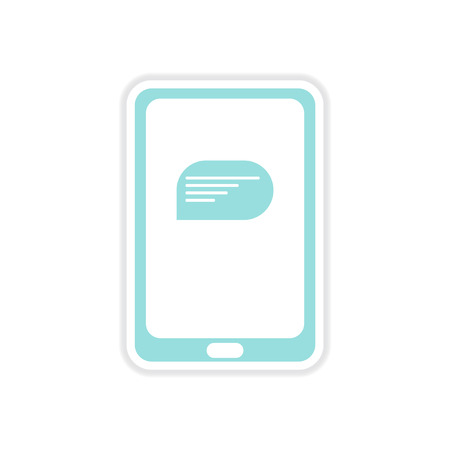 bubble speach: paper sticker on white  background mobile phone message