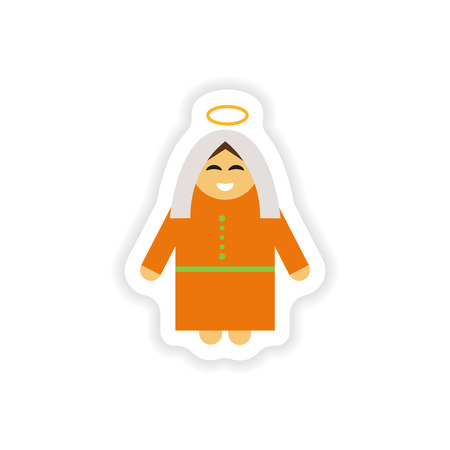 roman catholic: paper sticker on white background  Virgin Mary