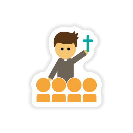 paper sticker on white background  Christian priest Illustration