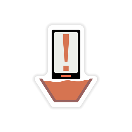 diving save: paper sticker on white background  mobile phone water