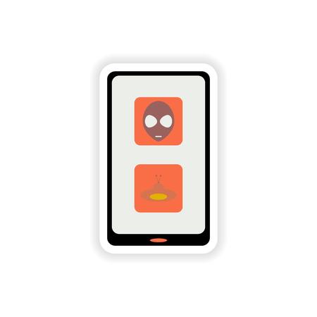 mobile app: paper sticker on white background  mobile app