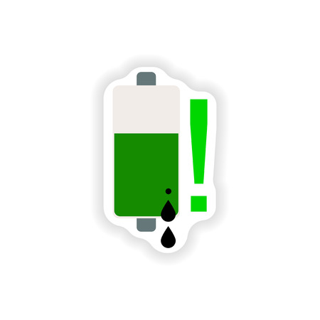 inner strength: paper sticker on white background  mobile battery is low