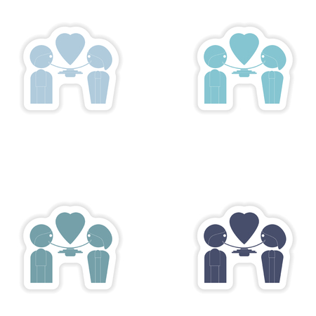 dinner date: Set of paper stickers on white background  lovers eating