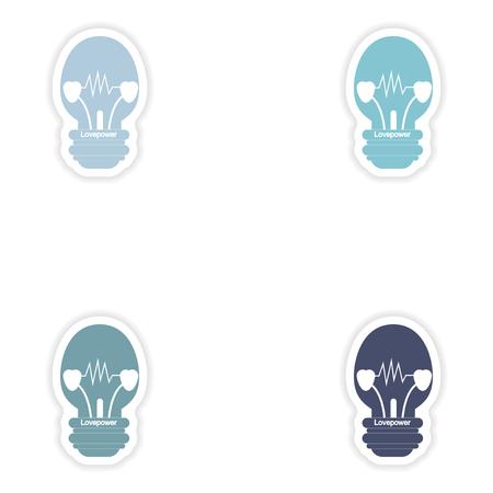 heart burn: Set of paper stickers on white background  lightbulb love power