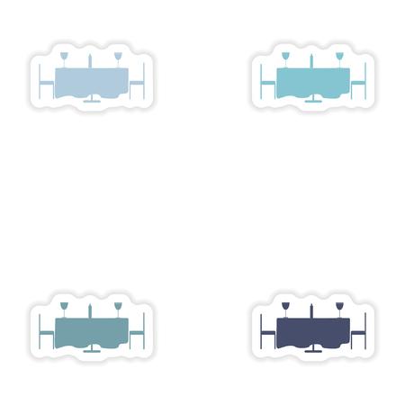 dinner date: Set of paper stickers on white background  romantic dinner Illustration