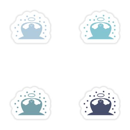 church family: Set of paper stickers on white background  newborn Jesus