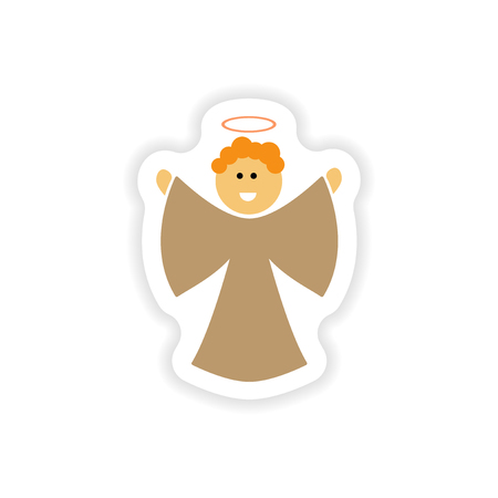 holly day: paper sticker on white background  Christmas Angels Illustration