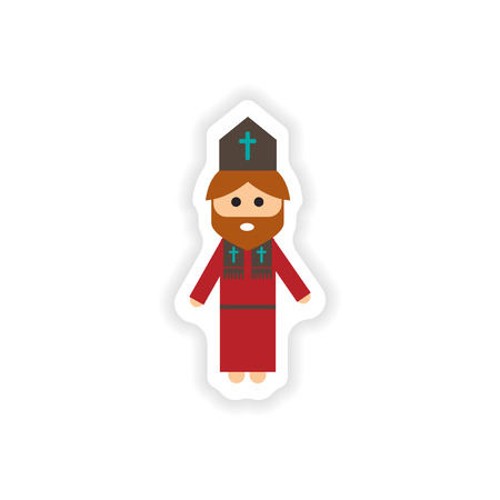 protestant: paper sticker on white background  Christian priest Illustration
