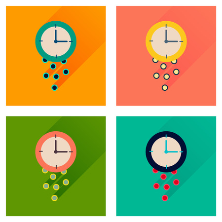 analogy: Concept of flat icons with long  shadow time is money Illustration