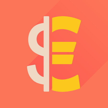 Flat icon with long  shadow Euro dollar Illustration