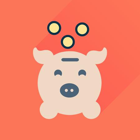 signo de pesos: icono plana con una larga sombra de dinero alcancía