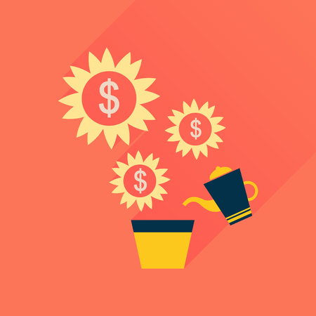 grow money: Flat icon with long  shadow Money Tree