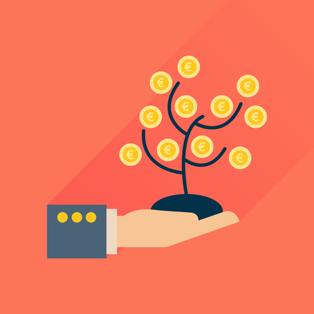 Flat icon with long  shadow Money Tree Hand