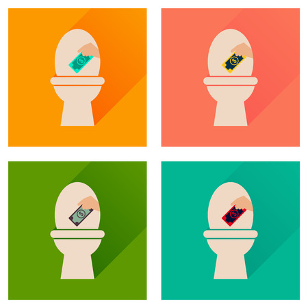 watercloset: Concept of flat icons with long  shadow toilet money