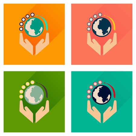 earth hands: Concept of flat icons with long  shadow Earth hands